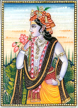 Krishna with Lotus Flowers