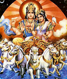Surya The Sun-god and his wife Savitri
